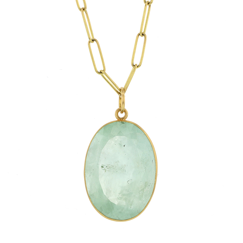 Green Beryl Faceted 18k Gold Pendant (Chain Sold Separately)