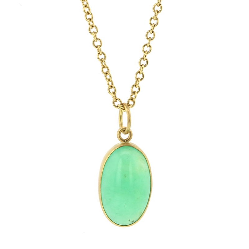 Chrysoprase Oval Cabachon 18k Gold Pendant (Chain Sold Separatel