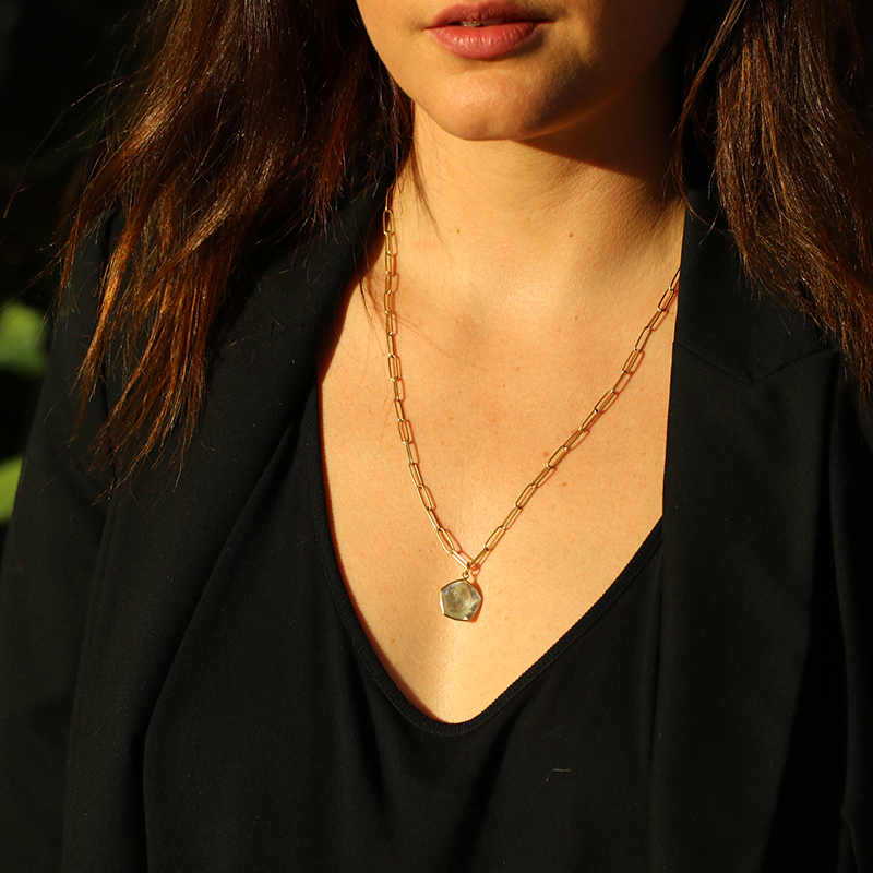 Evergreen Quartz 18k Gold Pendant  (Chain Sold Separately)