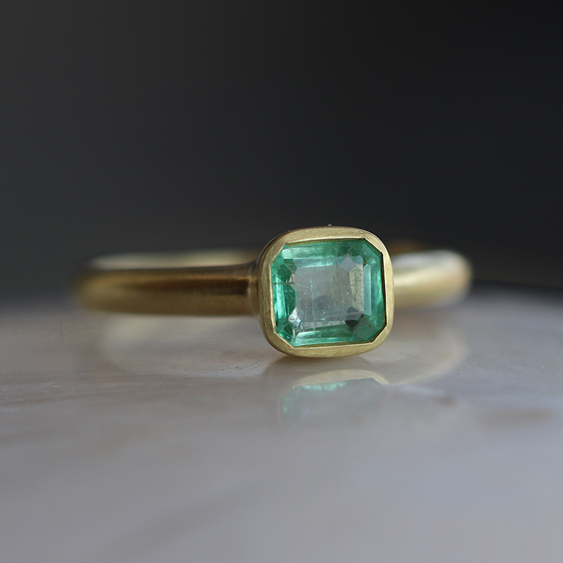 Square Emerald Gold Ring