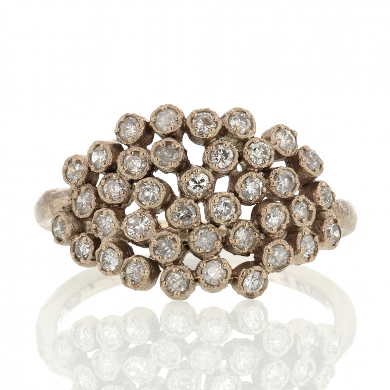 Large White Diamond Cluster Ring