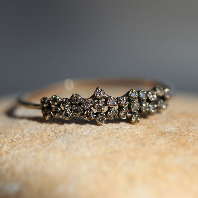 Brown Diamond Cluster Gold Ring