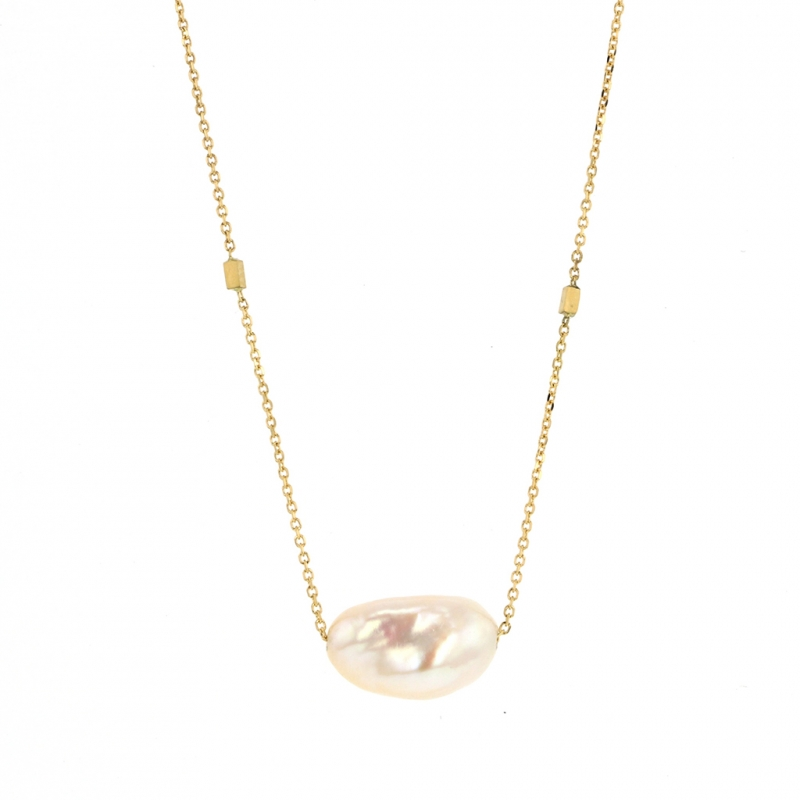 Keishi Pearl Gold Drop Necklace