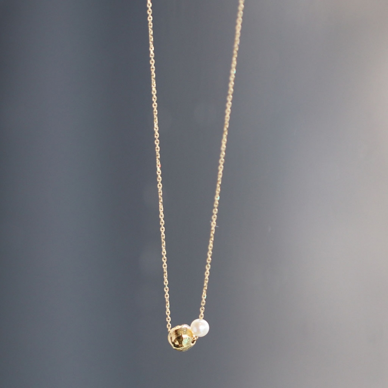 Long Gold Chain with Gold Bead and Pearl