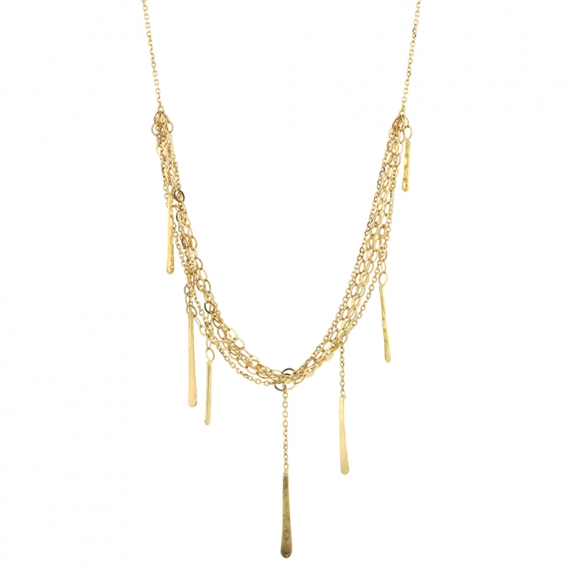 Short Sycamore Layered Gold Strand Necklace