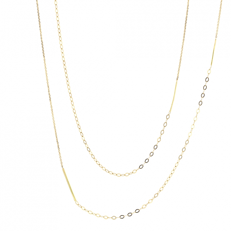 Long Sycamore Gold Strand Necklace
