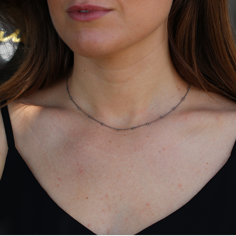 Beaded Silver Xs Choker Necklace
