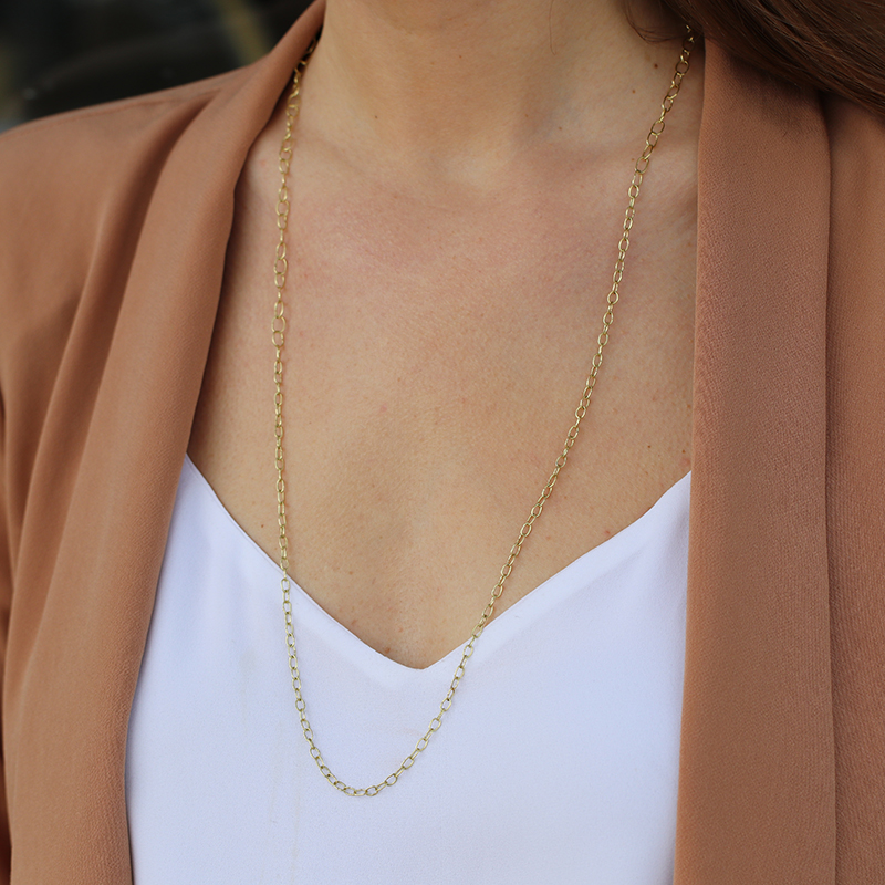 18k Yellow Gold Dual Long Chain Necklace