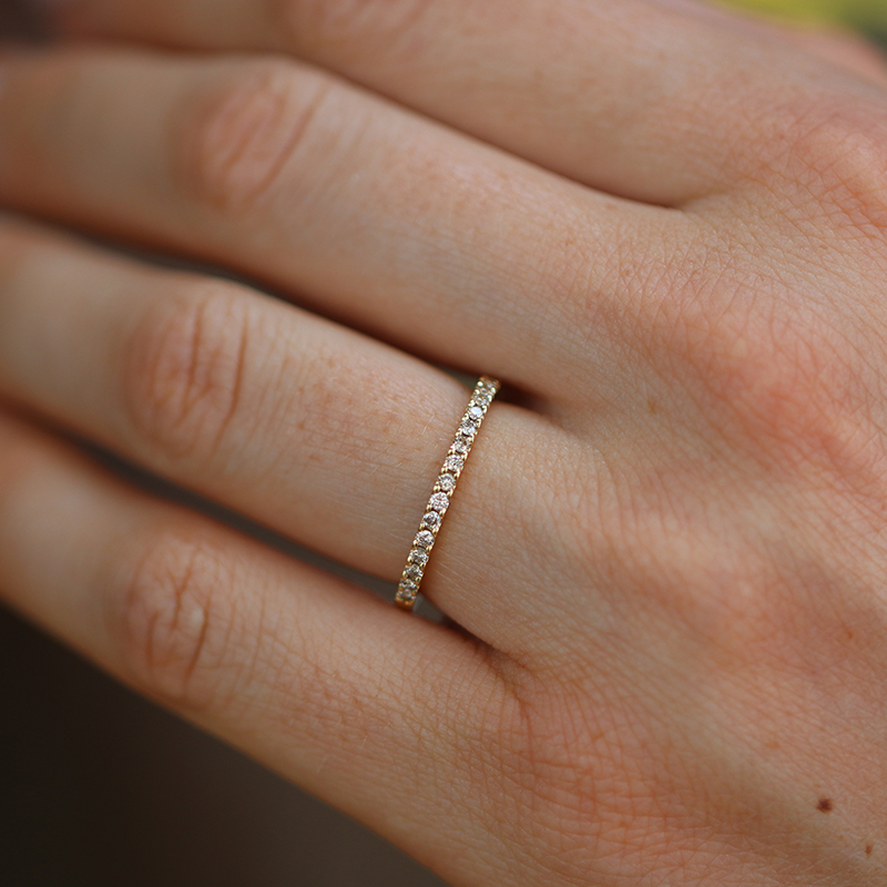 Champagne Diamond Gold Half Eternity Band