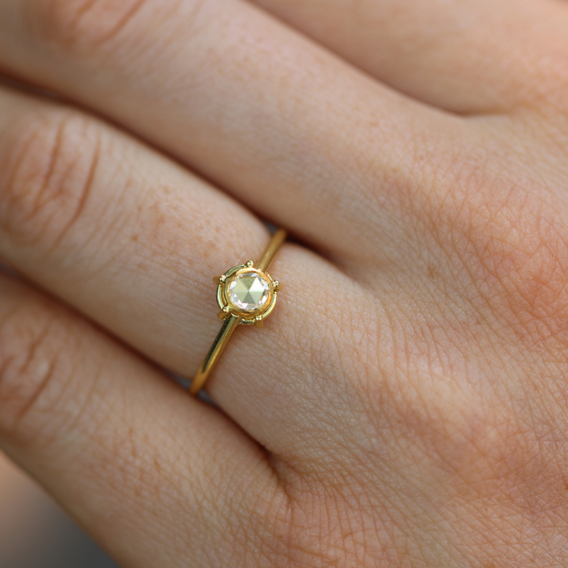 Unique Rose Cut Diamond Solitaire Ring