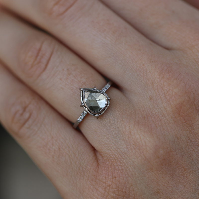 Greenish Diamond Slice Solitaire with Pave Shoulder Band