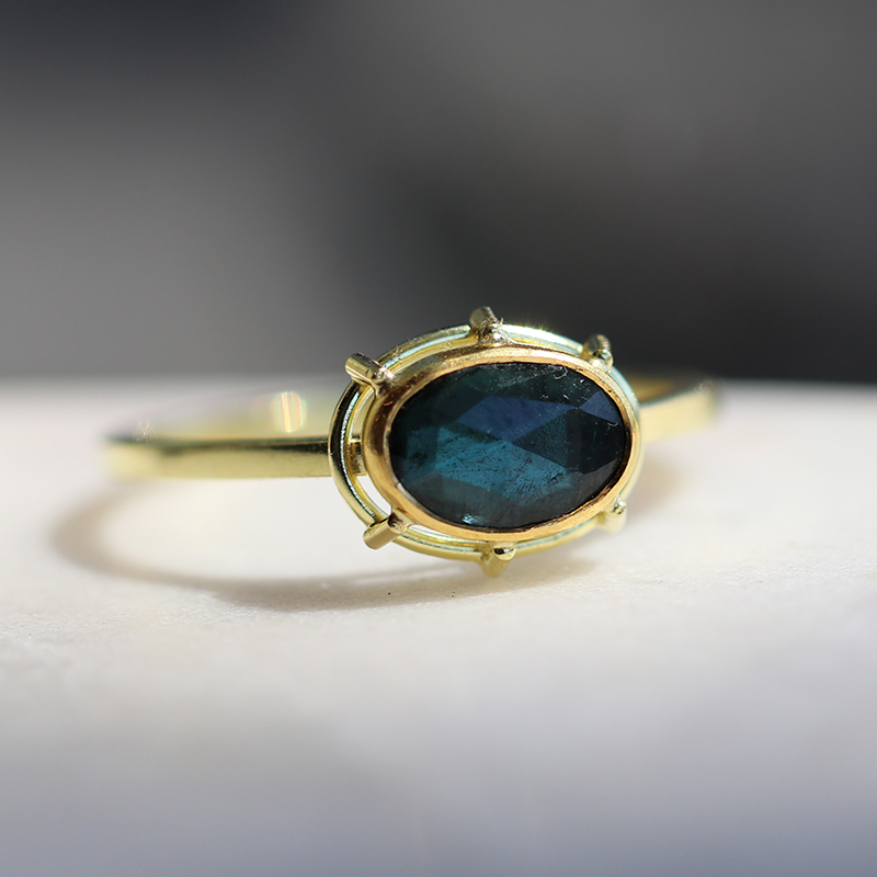 Tourmaline Blue Green Solitaire Gold Ring