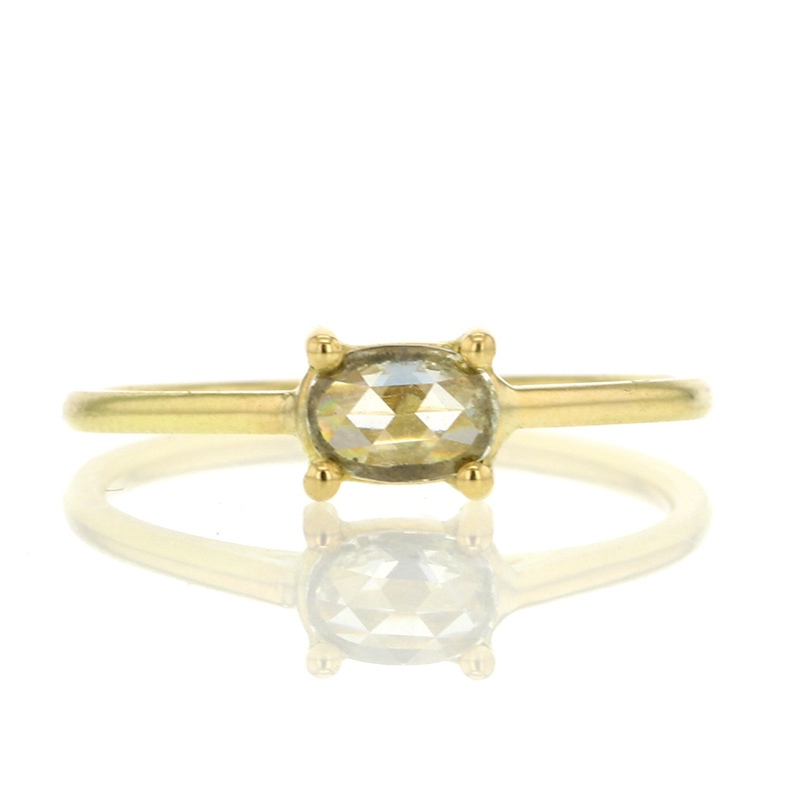 Rose Cut 18k Yellow gold Diamond Solitaire Ring