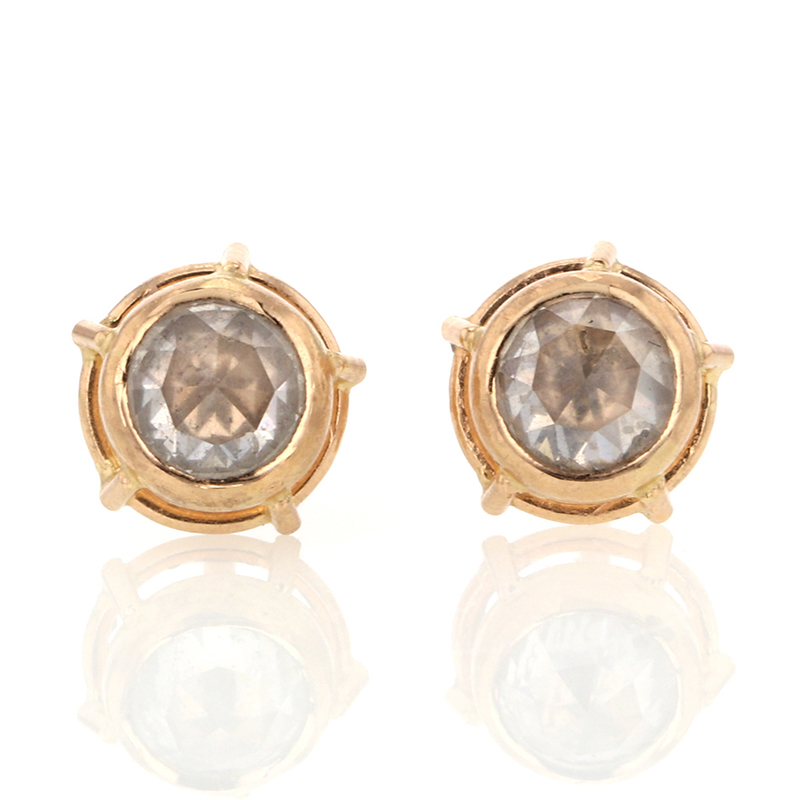 Rose Gold Rose Cut Diamond Earrings