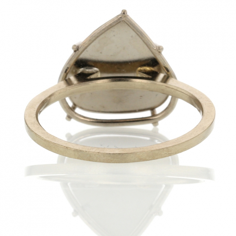 Solitaire Diamond Slice Palladium Gold Ring
