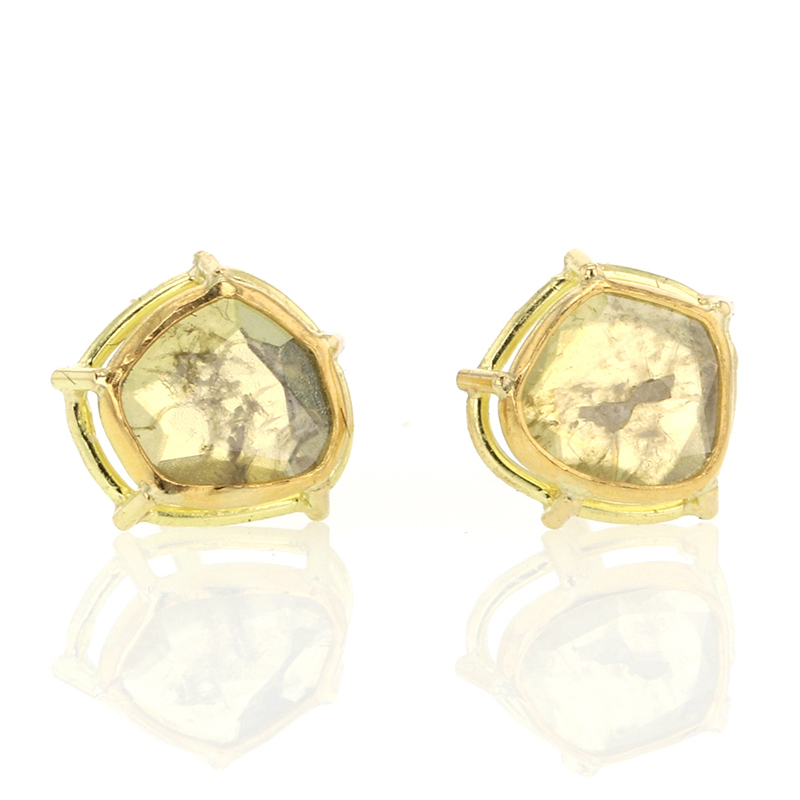 Unique Yellow Diamond Slice Earrings