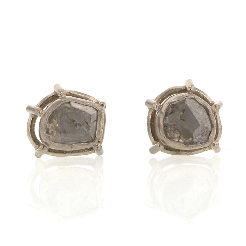 Foggy Diamond Slice White Gold Earrings