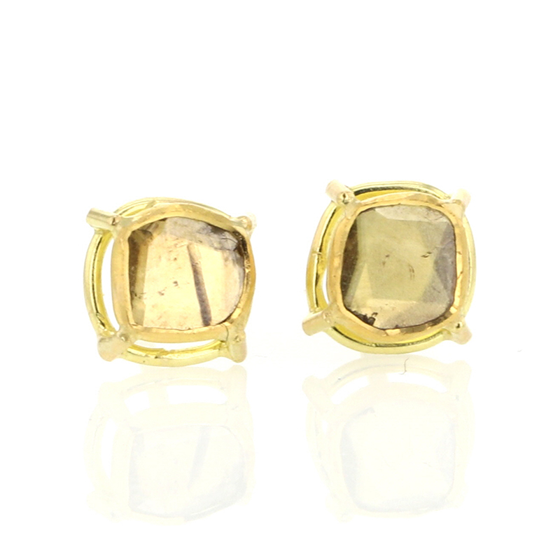 Unique Diamond Slice 18k Gold Earrings