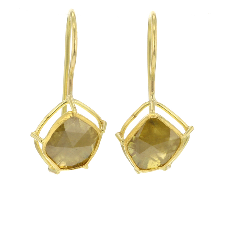 Diamond Slice Drop 18k Yellow Gold Earrings