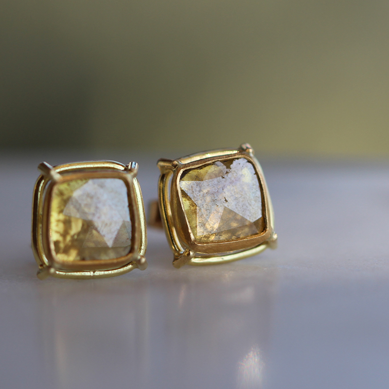 Diamond Slice Stud Earrings