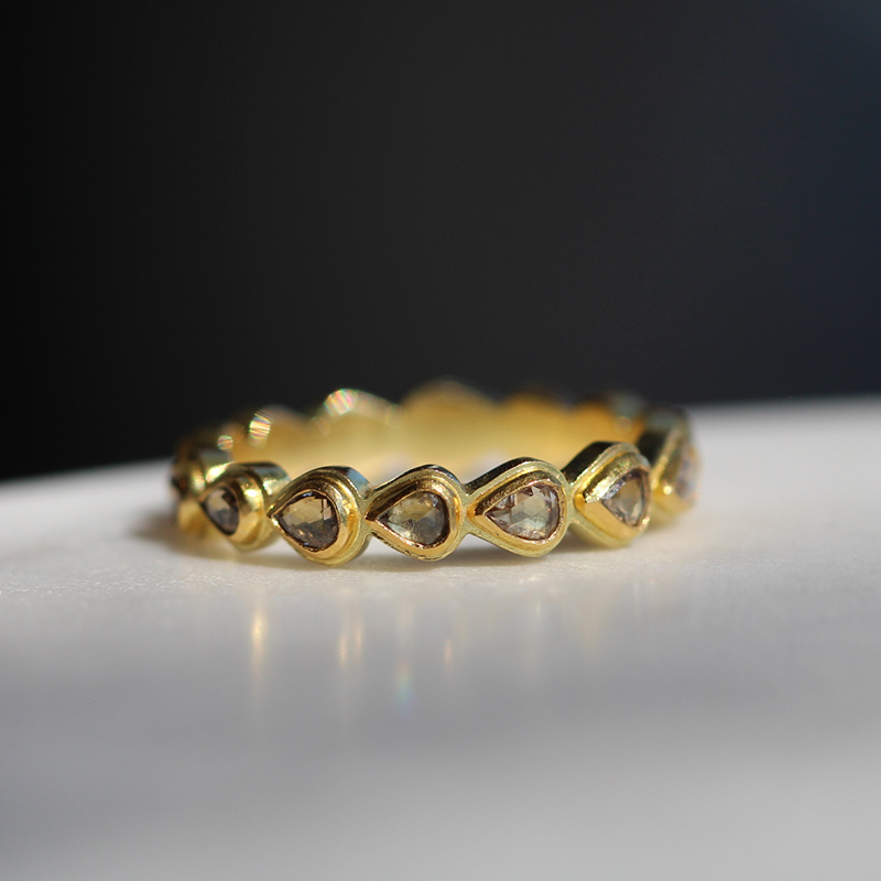 Diamond Cut Away Eternity Gold Band