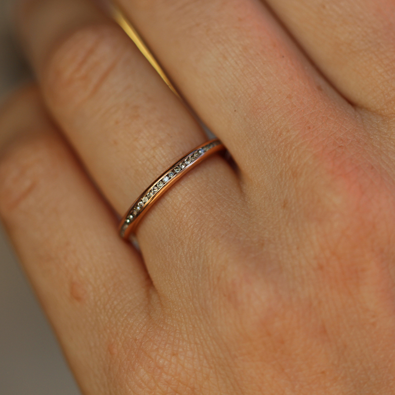 Rose Gold 1mm Champagne Diamond Eternity Band