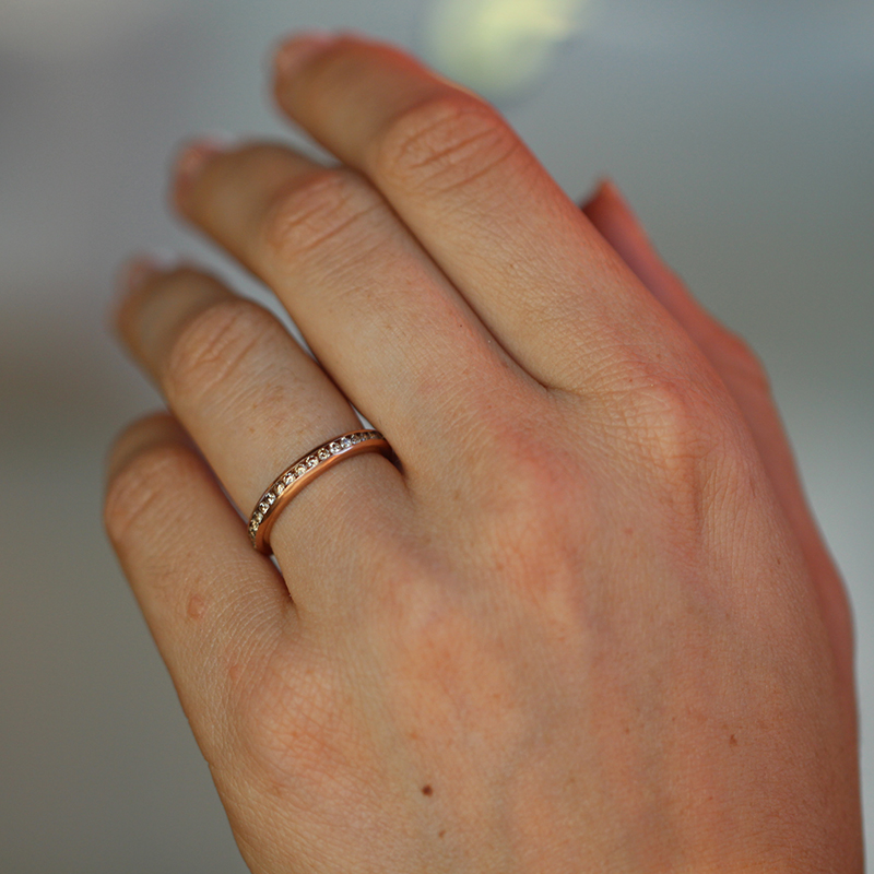 Rose Gold Champagne Diamond Eternity Band