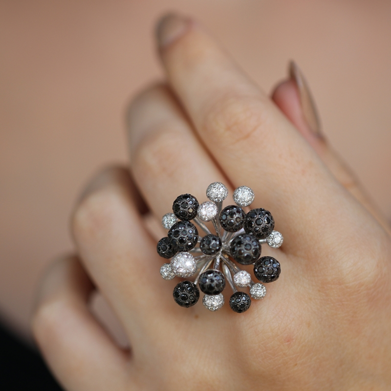 White and Black Diamond Fireworks 18k White Gold Ring