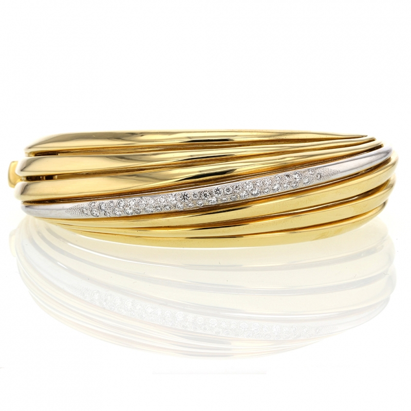 Spiral 18k Gold Diamond Cuff Bangle Bracelet