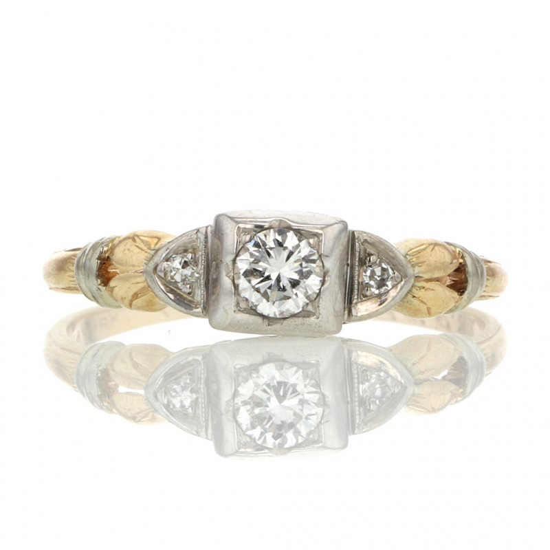 Vintage Mixed 18k White Gold and 14k Yellow Gold Diamond Ring