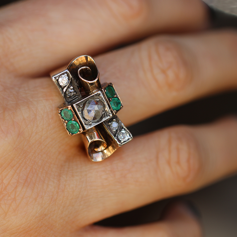 Unusual Antique Ring with Diamond