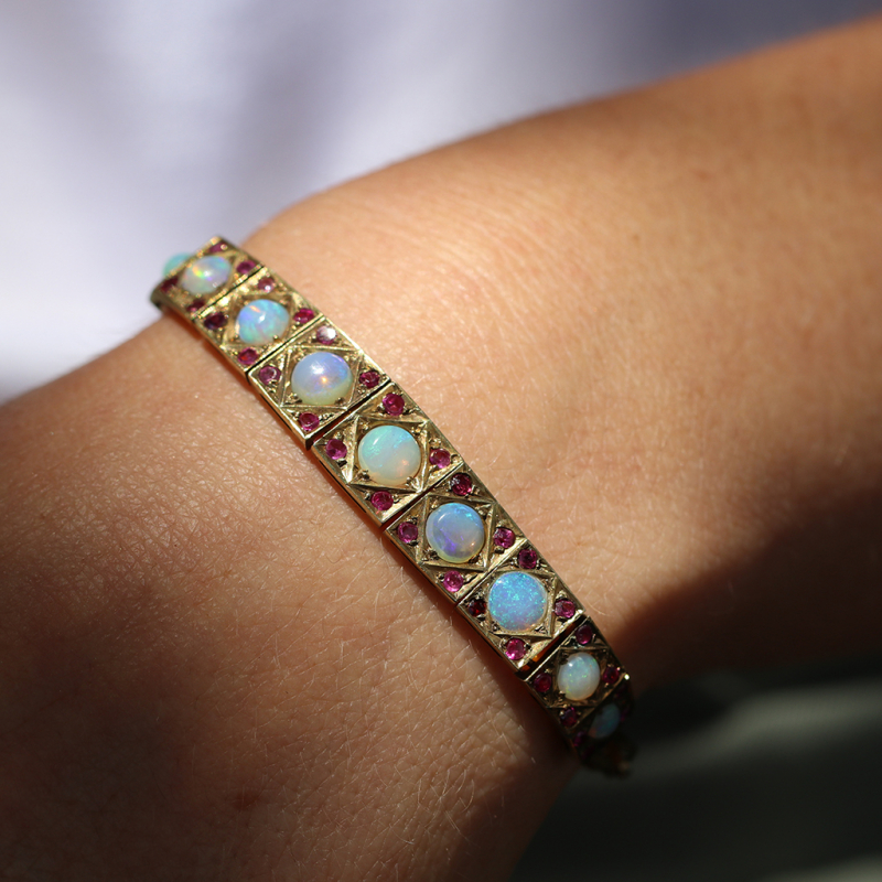Vintage Opal and Ruby Gold Bracelet