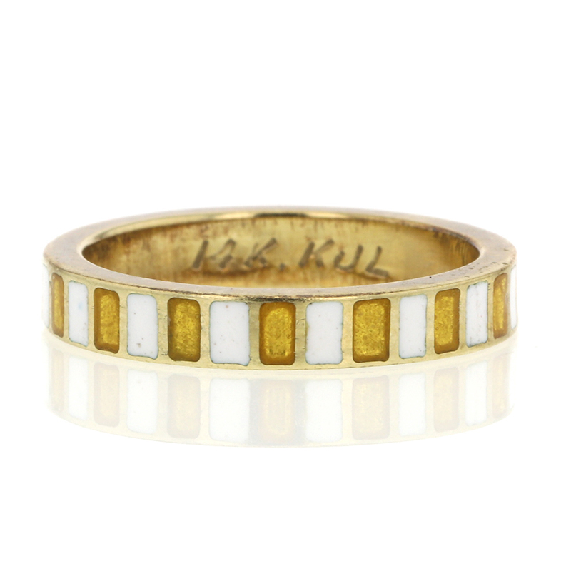 Vintage Enamel and 14k Gold Kenneth Jay Lane Ring