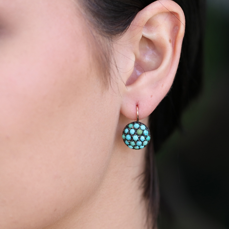 Victorian Turquoise 9k Rose Gold Earrings