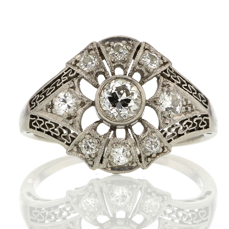 Platinum Diamond Vintage Deco Ring