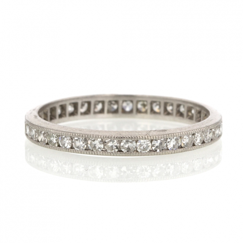 Vintage Diamond Eternity Platinum Ring Band