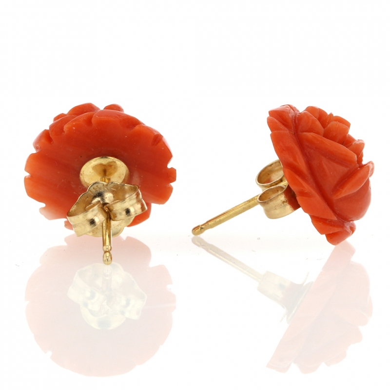 Vintage Orange Coral Flower Earrings