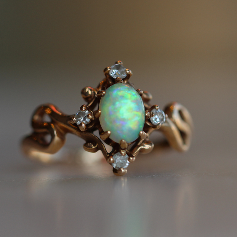 Vintage Opal and Diamond Unique Ring