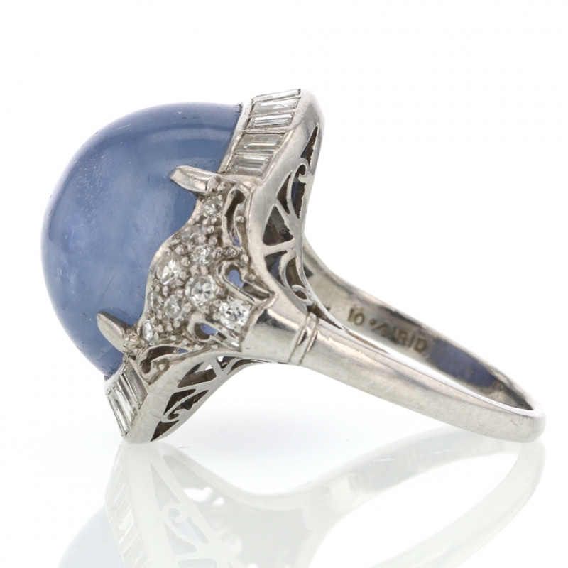 Blue Star Sapphire and Diamond Art Deco Ring