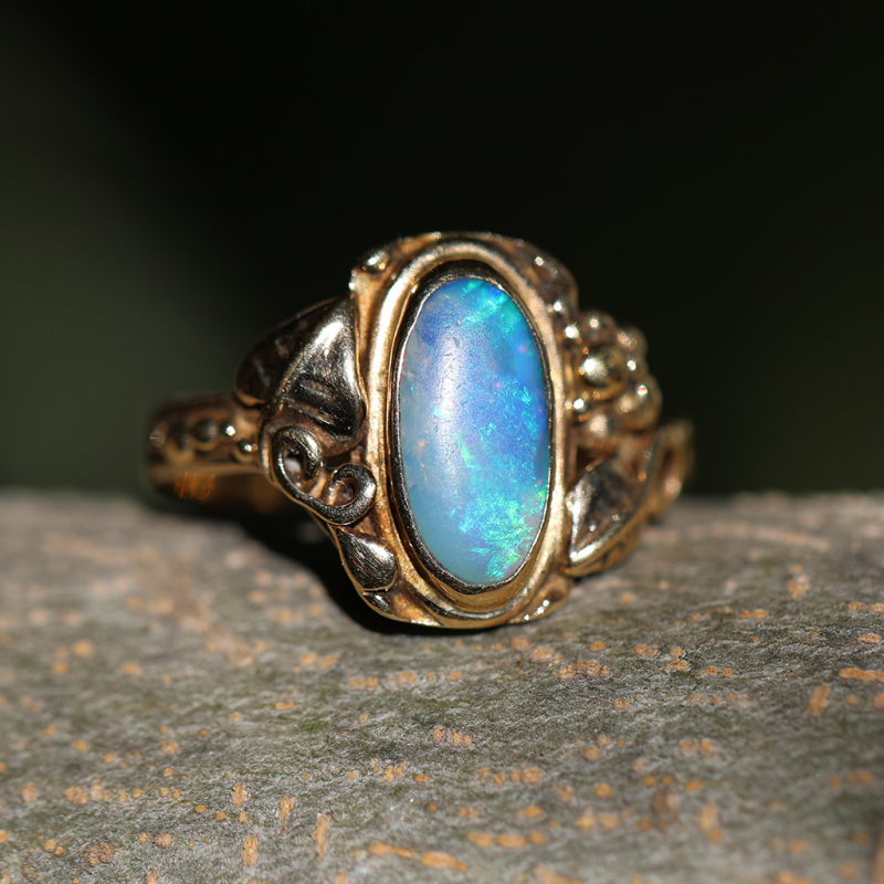Vintage Black Opal 14k Gold Ring