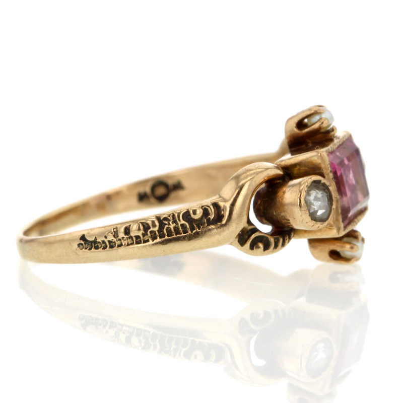 Vintage PInk Tourmaline and Diamond Ring