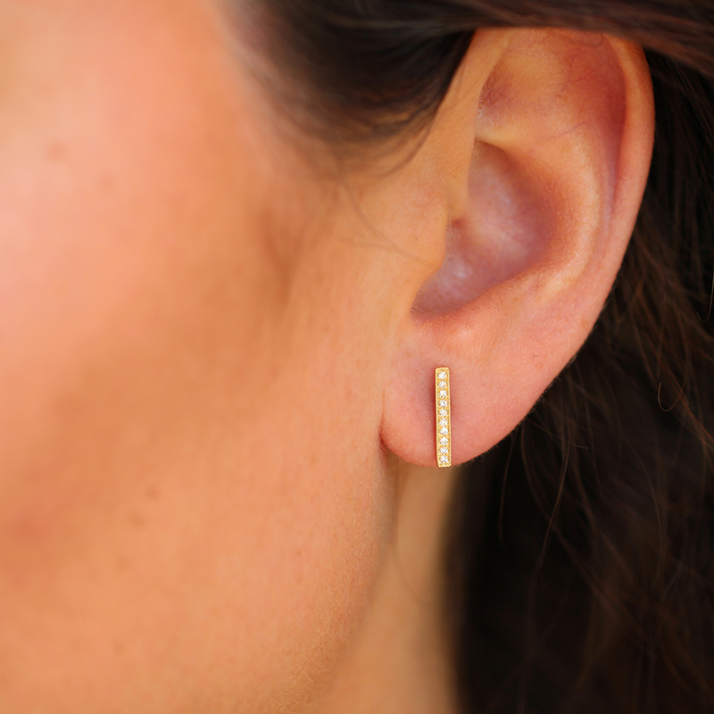 Yellow Gold Long Bar Pave Diamond Studs