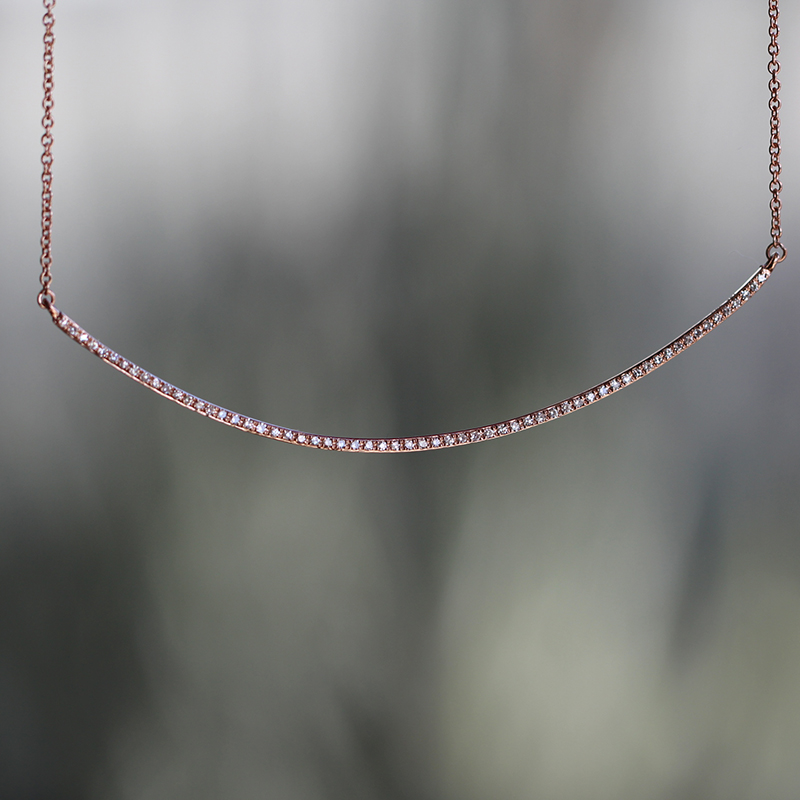 Rose Gold Curved Bar Pave Diamond Necklace
