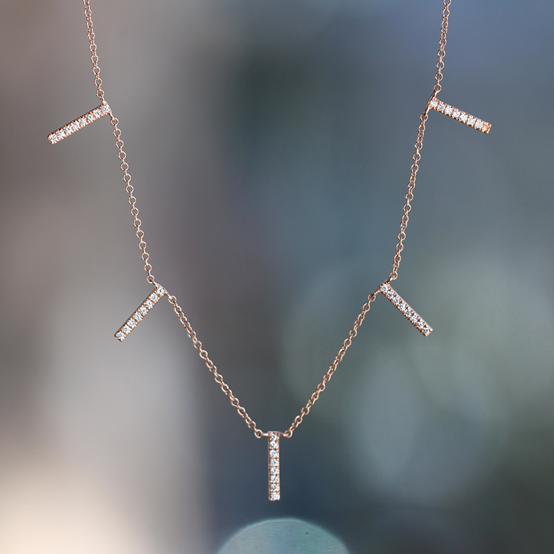 Rose Gold Bar Pave Reversable Necklace