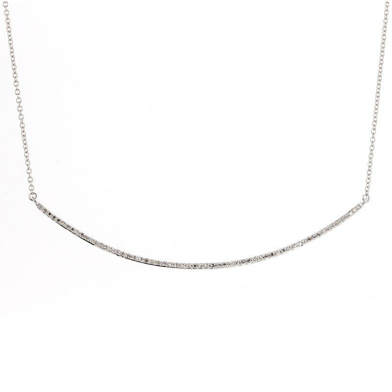 White Gold Curved Bar Pave Diamond Necklace