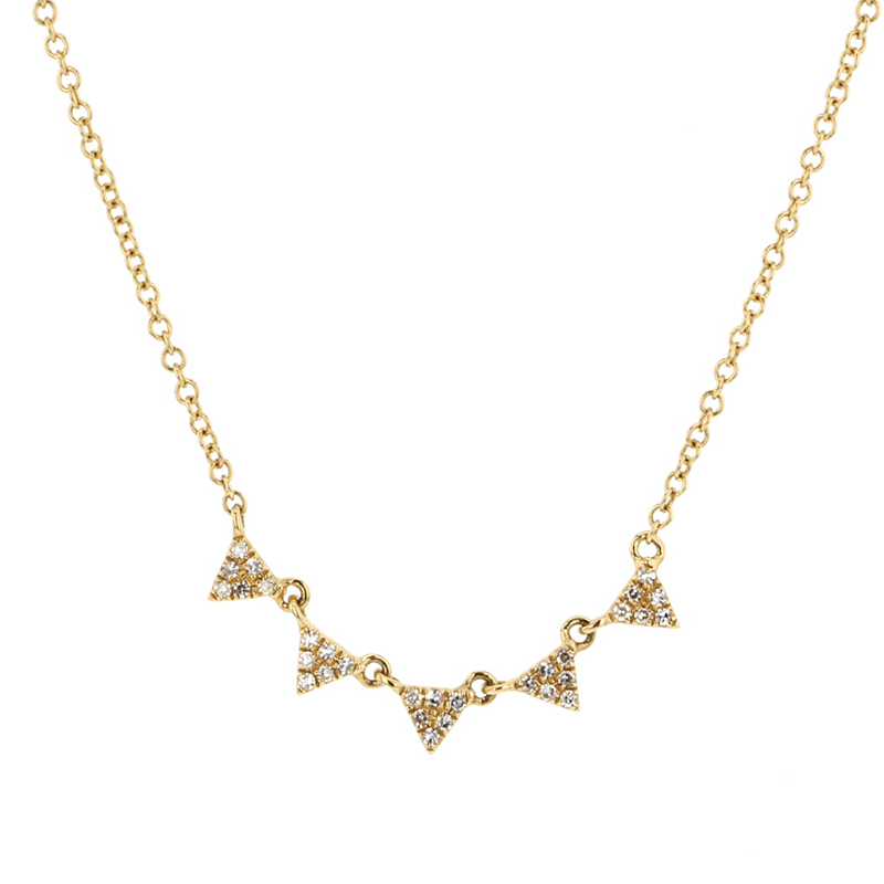 Gold Pave Diamond Triangle Necklace