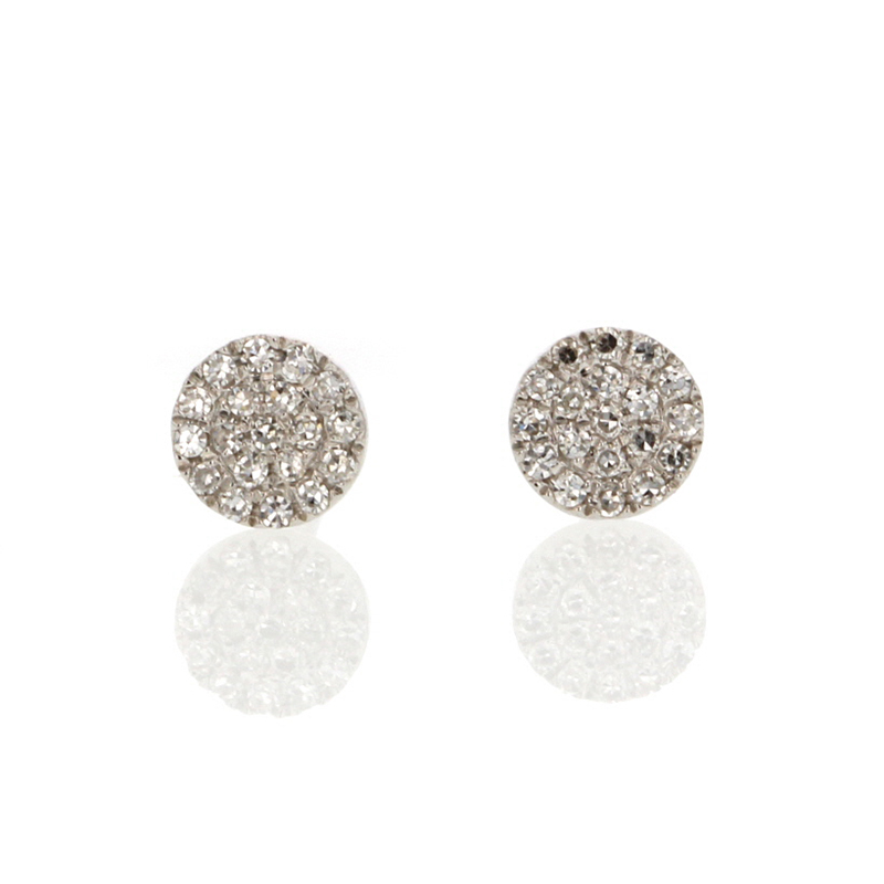 White Gold Pave Round Button Stud Earrings