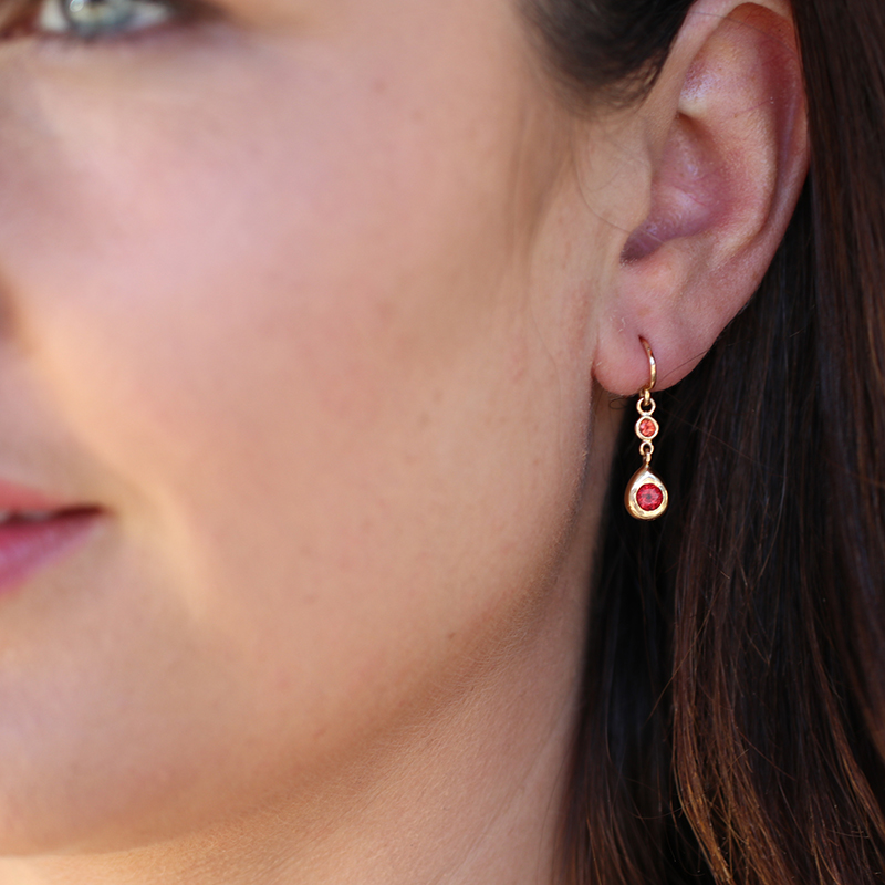Orange Sapphire 18k Rose Gold Earrings