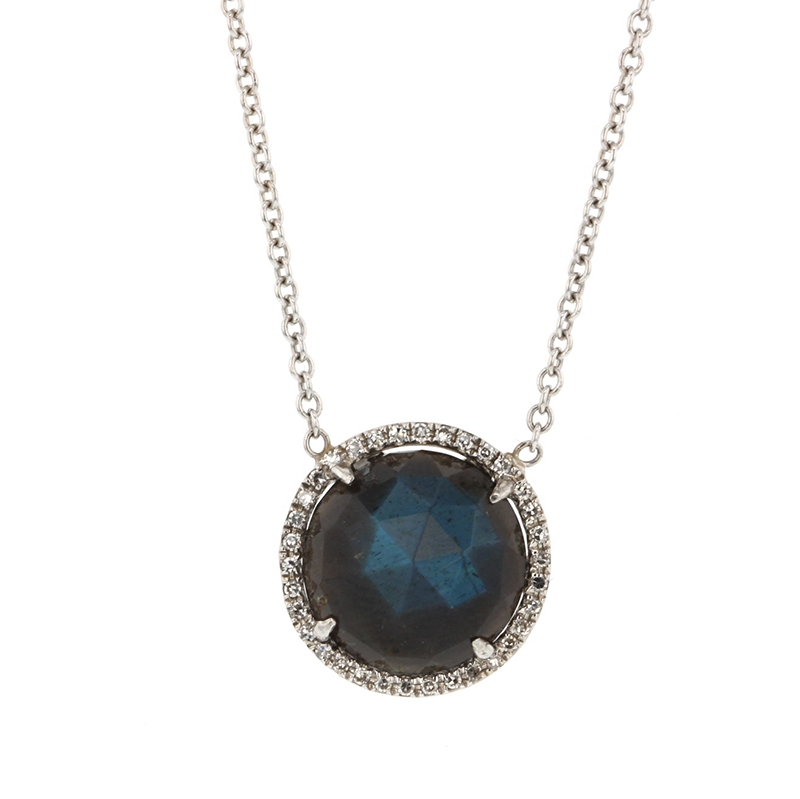 White Gold Labradorite Pave Necklace