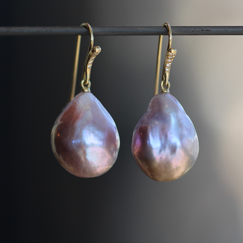 Pink Baroque Pearl Earrings with Diamonds